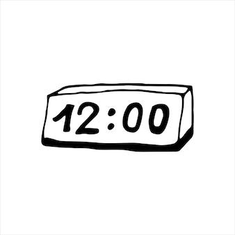 낙서 비즈니스 세트에서 시계의 단일 요소입니다. 카드, 포스터, 스티커 및 전문 디자인을 위한 손으로 그린 벡터 삽화.