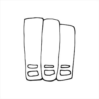 낙서 세트에 있는 폴더의 단일 요소입니다. 홈 오피스. 카드, 포스터, 스티커 및 전문 디자인을 위한 손으로 그린 벡터 삽화.
