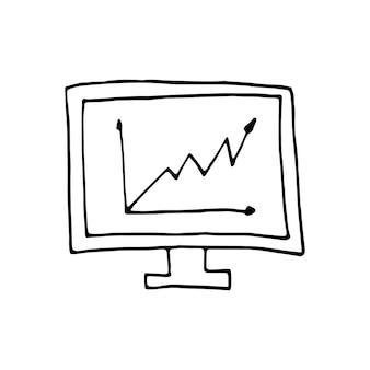 낙서 비즈니스 세트에서 그래프의 단일 요소입니다. 카드, 포스터, 스티커 및 전문 디자인을 위한 손으로 그린 벡터 삽화.
