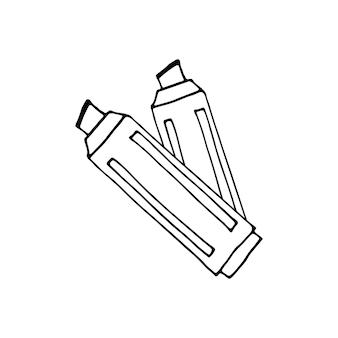 落書きビジネスセットのマーカーの単一要素。カード、ポスター、ステッカー、プロのデザインの手描きベクトルイラスト。