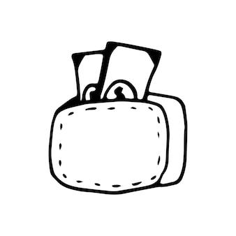 Единый элемент денег в наборе бизнес каракули. ручной обращается векторные иллюстрации для открыток, плакатов, наклеек и профессионального дизайна.