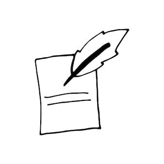 落書きビジネスセットのペンの単一要素。カード、ポスター、ステッカー、プロのデザインの手描きベクトルイラスト。