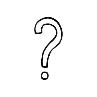낙서 비즈니스 세트에서 물음표의 단일 요소입니다. 카드, 포스터, 스티커 및 전문 디자인을 위한 손으로 그린 벡터 삽화.