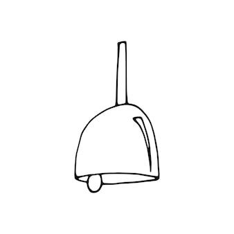 낙서 세트에서 학교 벨의 단일 요소입니다. 카드, 포스터, 스티커 및 전문 디자인을 위한 손으로 그린 벡터 삽화.