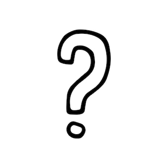 Single element of question mark in doodle business set. hand drawn vector illustration for cards, posters, stickers and professional design.