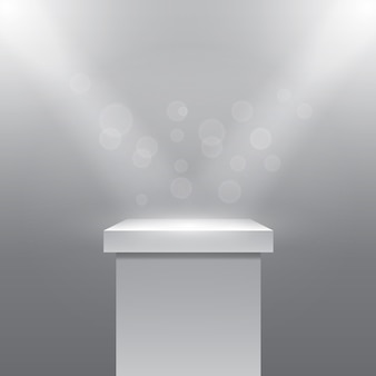 Single empty pedestal or column under the rays projectors. plinth and stone. vector illustration