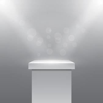 Одиночный пустой постамент или колонна под лучи прожекторов. плинтус и камень. векторная иллюстрация
