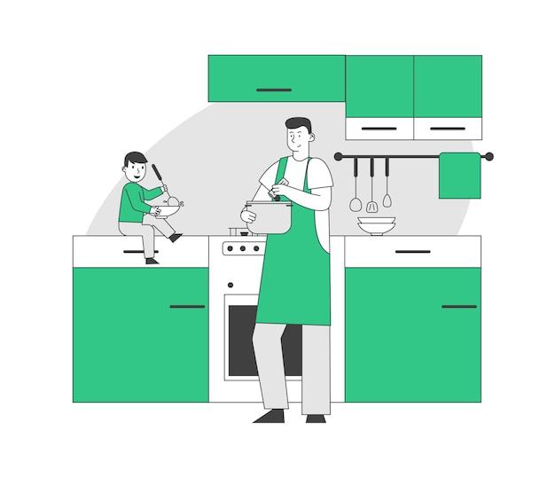 부엌에서 저녁 식사를 요리하는 단일 아버지