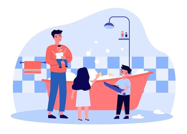 싱글 아버지가 아이들을 위해 욕조에 물을 채우고 있습니다. 거품 욕조 평면 벡터 일러스트 레이 션에 목욕 딸과 아들 남자. 웹 사이트 디자인 또는 방문 웹 페이지를 위한 가족, 육아, 위생 개념
