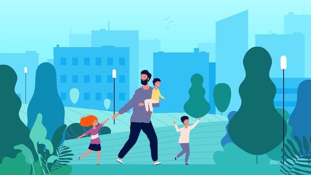 シングルファーザー。公園で子供たちと一緒に歩いている孤独な男。男性の親子関係、赤ちゃんまたは幼児と子供。漫画フラットイラスト