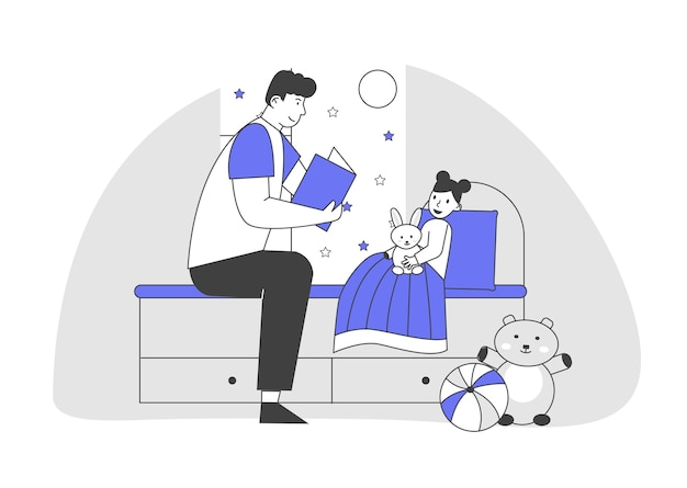 Single father reading book daughter lying in bed