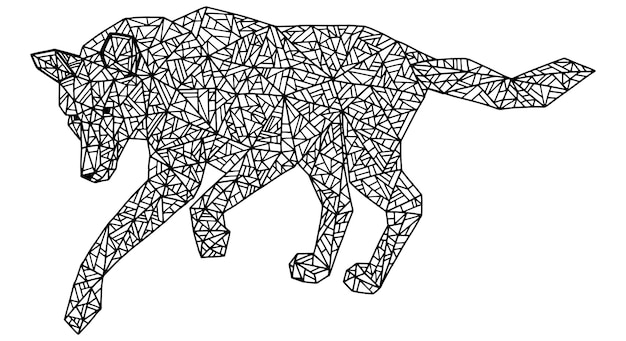 Single geometric animal. wild walking wolf. polygonal style. element for coloring antistress. hand drawn abstract vector illustration. black contour picture isolated on white for design.