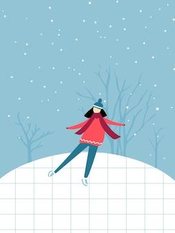 ピンクのセーターとスカーフの独身の女の子がアイススケートリンクの冬の野外活動でスケートをしている