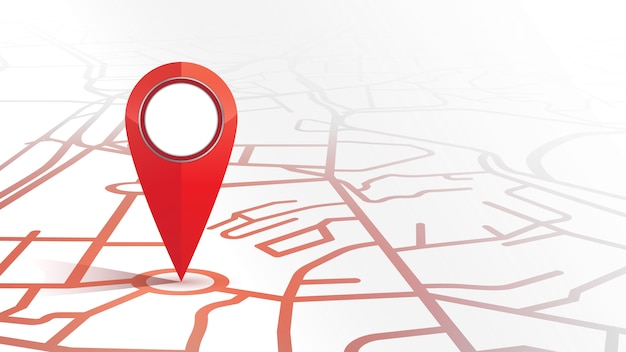 Single gps pin icon red color mock up form the street map on white background