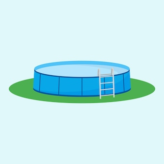 Single above ground pool on the grass.