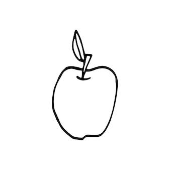 Single hand drawn apple. doodle vector illustration.