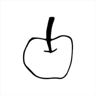 Одно рисованное яблоко для поздравительных открыток, плакатов, рецептов, кулинарного дизайна. изолированные на белом фоне. каракули векторные иллюстрации.