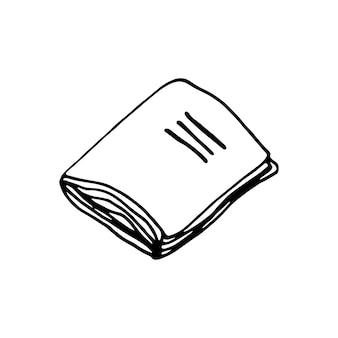 片手で描いた本。かわいいスカンジナビア風の落書きベクトルイラスト。グリーティングカード、ポスター、ステッカー、季節のデザインの要素。白い背景で隔離