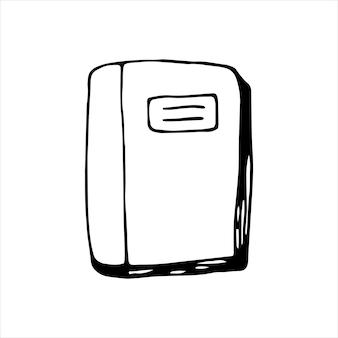 Одна книга нарисованная рукой. каракули векторные иллюстрации в милом скандинавском стиле. изолированные на белом фоне