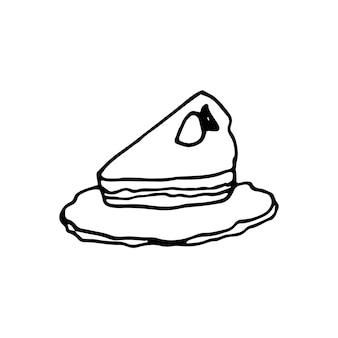 한 손으로 그린 케이크. 낙서 벡터 일러스트 레이 션.