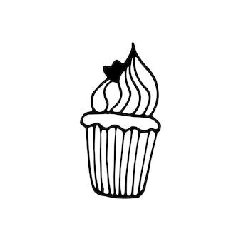 片手で描いたカップケーキ、マフィン。かわいいスカンジナビアスタイルの落書きベクトルイラスト。グリーティングカード、ポスター、ステッカー、季節のデザインの要素。白い背景で隔離