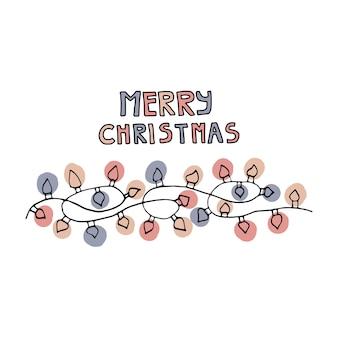새 해와 크리스마스 낙서 벡터 일러스트 레이 션 겨울 요소의 단일 손으로 그린 요소