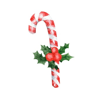 새 해와 크리스마스 인사말 카드에 대 한 단일 손으로 그린 롤리팝 튜브 귀여운 수채화 그림