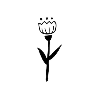 Single hand drawn ornamental flower for autumn decoration. doodle vector illustration. isolated on white background