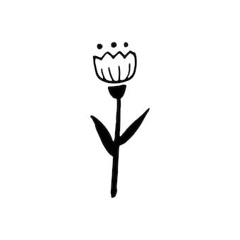 Одной рукой оттянутый декоративный цветок для осеннего украшения. каракули векторные иллюстрации. изолированные на белом фоне