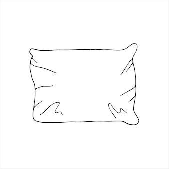 片手で描いた枕。かわいいスタイルの落書きベクトルイラスト。家にいる。グリーティングカード、ポスター、デザインの要素。白い背景で隔離