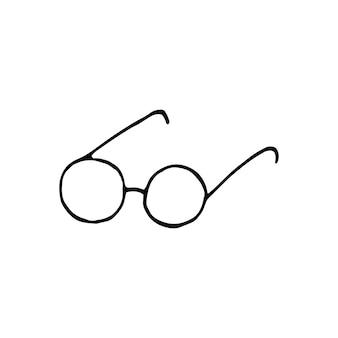 片手で描いたサングラス。落書きベクトルイラスト。グリーティングカード、ポスター、ステッカー、季節のデザインのかわいい要素。白い背景で隔離
