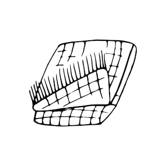 Single hand drawn warm plaid doodle vector illustration in cozy scandinavian style