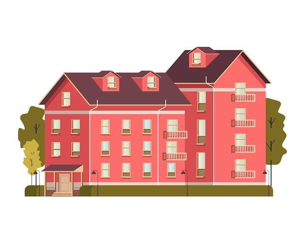 싱글 하우스 개념 평면 디자인 일러스트 레이션