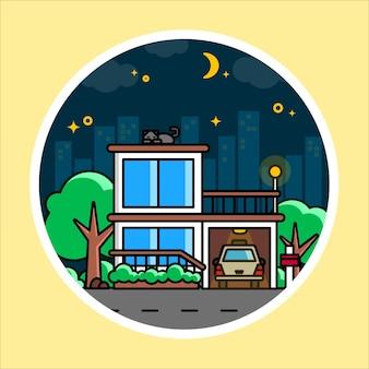 어두운 도시에서 단일 집 하우스 그림 하우스 벡터