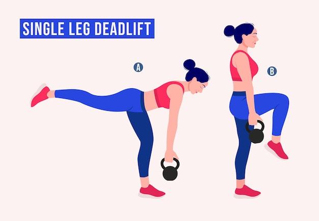 Single leg deadlift exercise woman workout fitness aerobic and exercises
