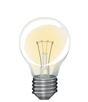Single lightbulb with yellow light on white