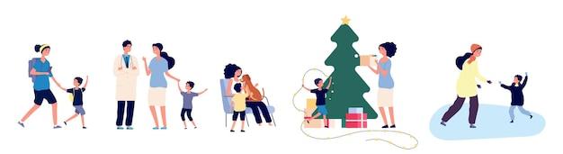 싱글맘. 아들 벡터 일러스트와 함께 어머니입니다. 가족 활동 개념. 엄마와 아이 스케이트, 크리스마스 트리 장식, 산책. 어머니 부모 싱글, 소년과 여성의 행복한 그림