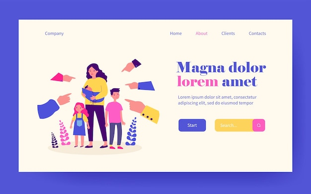 Single mother social problems. hands of people pointing at woman with three kids flat vector illustration. mom with many children, motherhood concept for banner, website design or landing web page