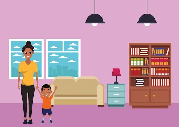 Single mother with children cartoon