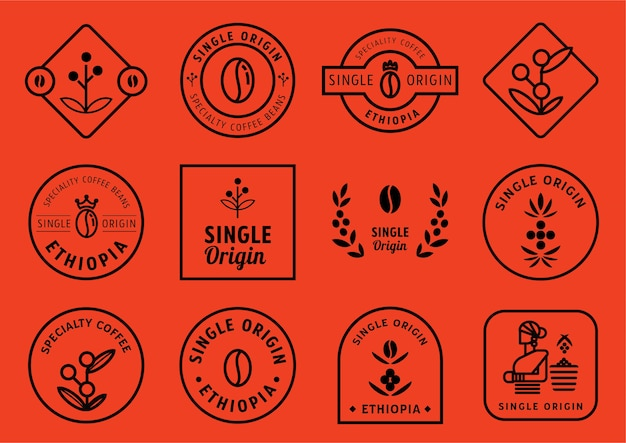 Single origin badge design set