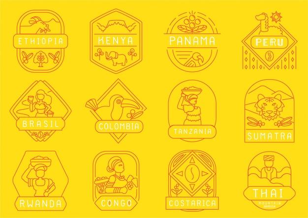 Single origin coffee farm line badge design
