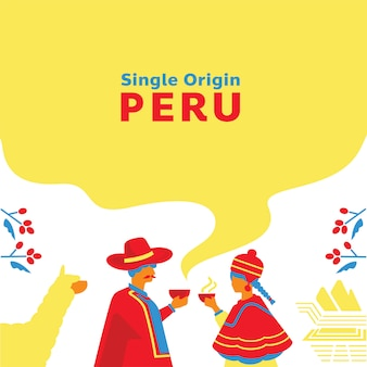 Single origin coffee peru background with local people