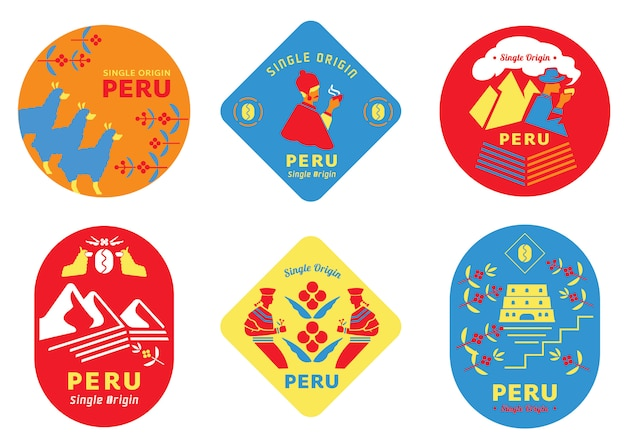 Single origin peru coffee label with local people