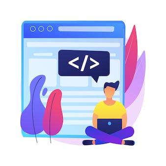 シングルページアプリケーションの抽象的な概念図。 spa webページ、web開発トレンド、ブラウザー内のアプリ、動的にページを書き換える、レスポンシブwebサイトの作成。