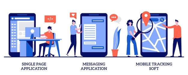 シングルページアプリケーション、メッセージングアプリケーション、モバイルトラッキングソフトコンセプト