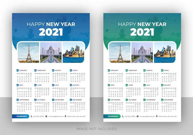 Single page colorful travel agency wall calendar design template