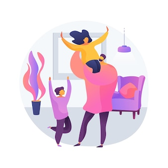 ひとり親の抽象的な概念のベクトル図です。独身の養子縁組、息子を持つ母親、配偶者なしの所得支援給付、育児、一人で育てる、親子関係の抽象的な比喩。