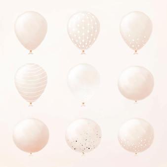 Single party balloon element vector set sticker for birthday theme