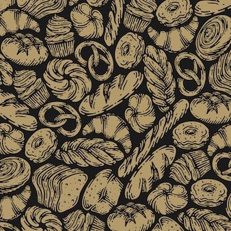 빈티지 디자인에 빵집의 단일 패턴입니다.