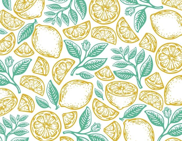 빈티지 디자인에 레몬 과일의 단일 패턴입니다.